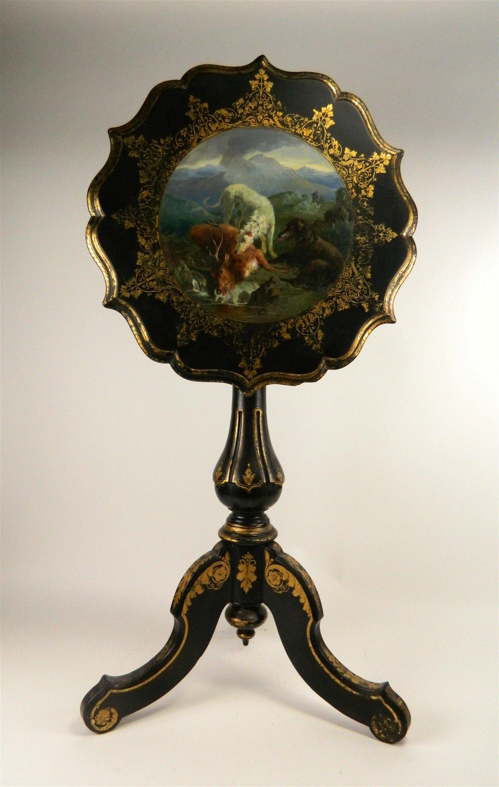19th c. English tilt top wood table