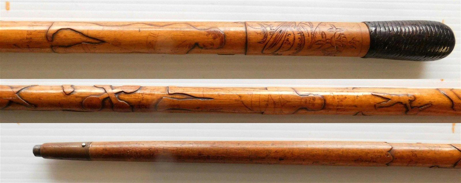 Carved 'Pugilists' folk art cane