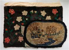 2 early 20th c hooked rugs