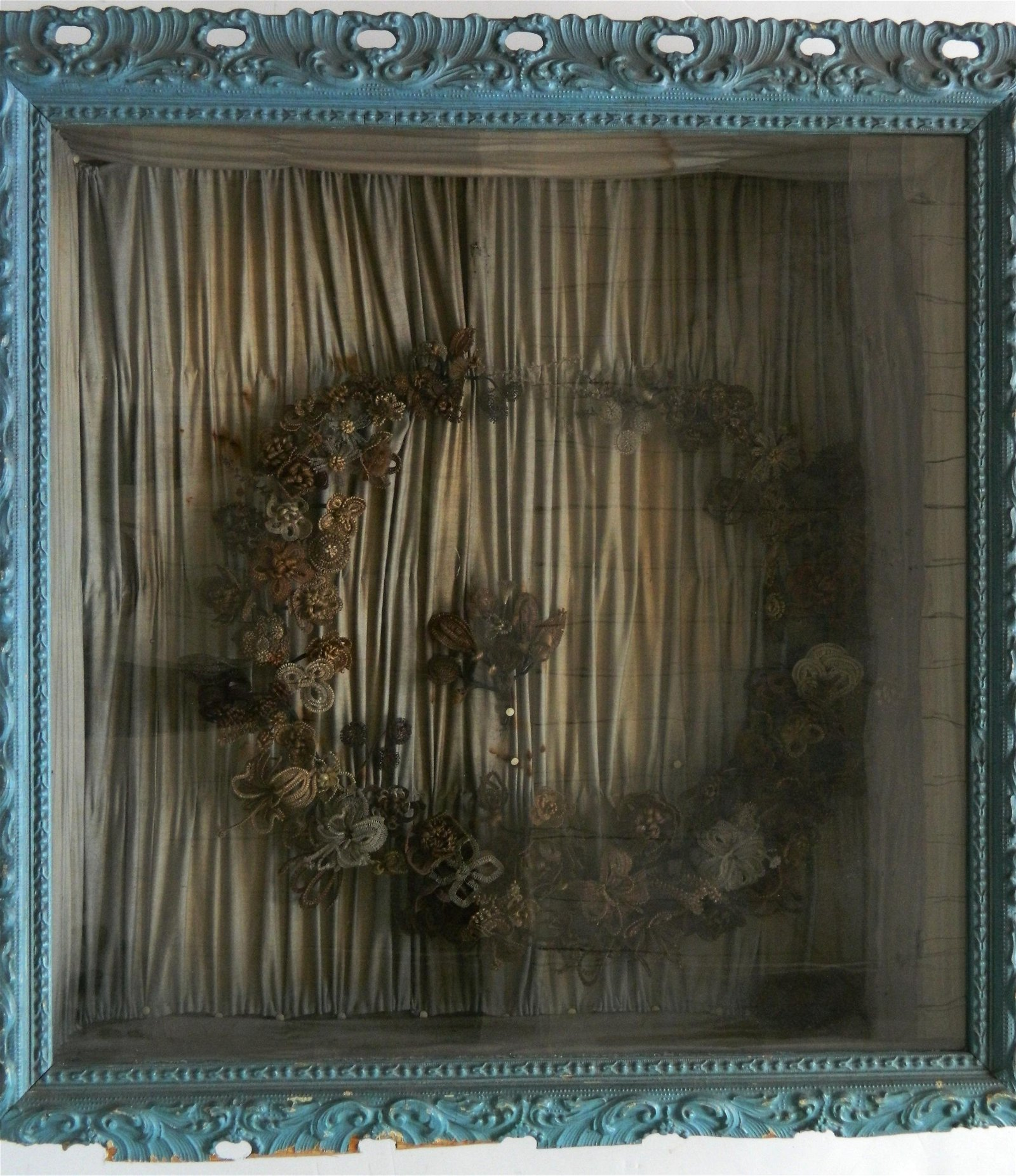 Victorian mourning hair wreath