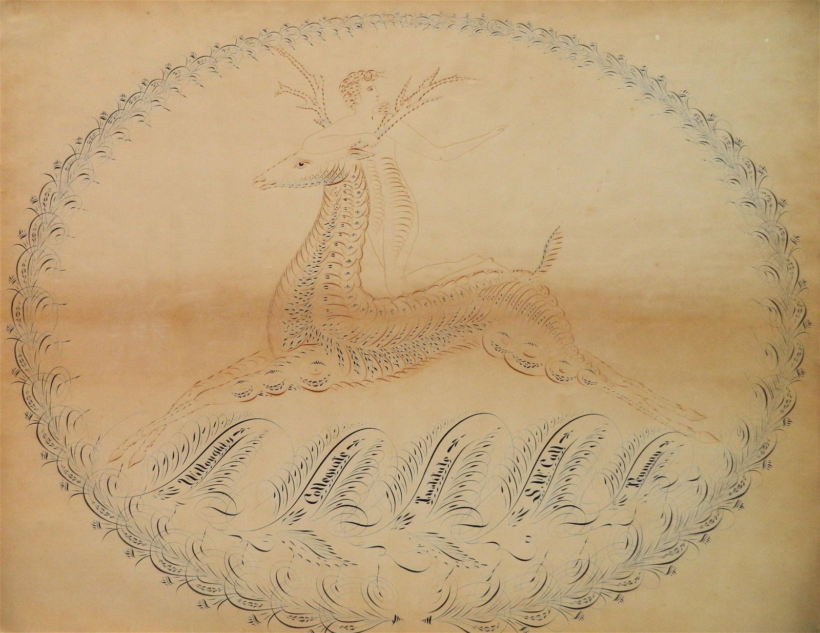 Antique Spencerian pen & ink drawing by S. W. Call