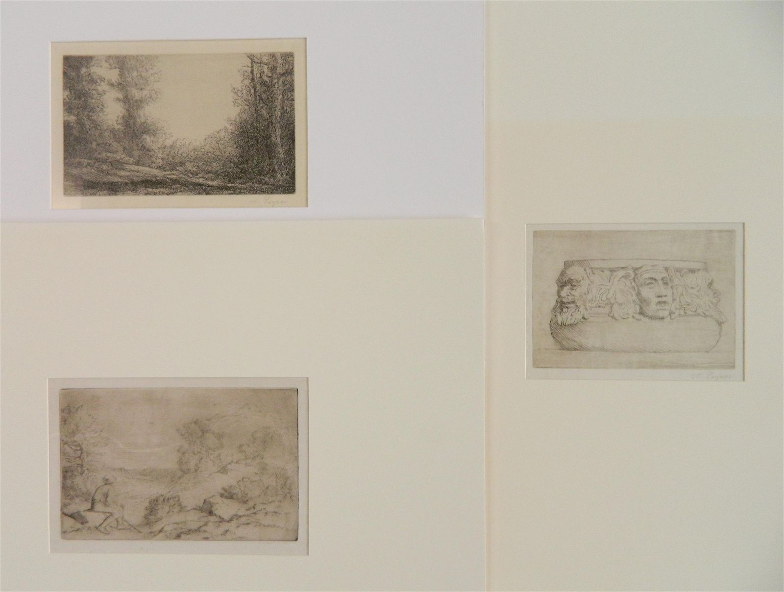 3 Alphonse Legros etchings