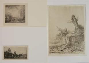 3 Alphose Legros etchings