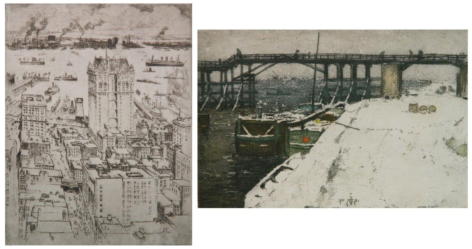 Joseph Pennell  & Tavik Simon etching