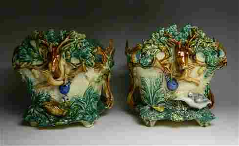 Pair of 19th c. French Majolica jardinières