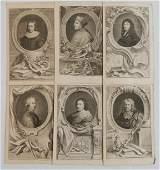 Jacobus Houbraken 6 portrait engravings