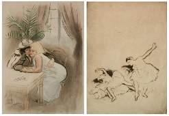 2 Louis Legrand etchings