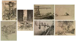 7 Joseph Pennell lithographs