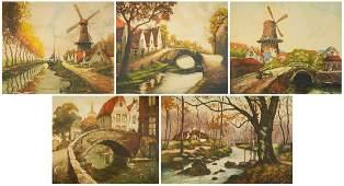 5 European etchings