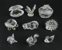 9 Swarovski crystal figurines