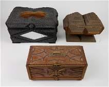 3 Tramp Art boxes