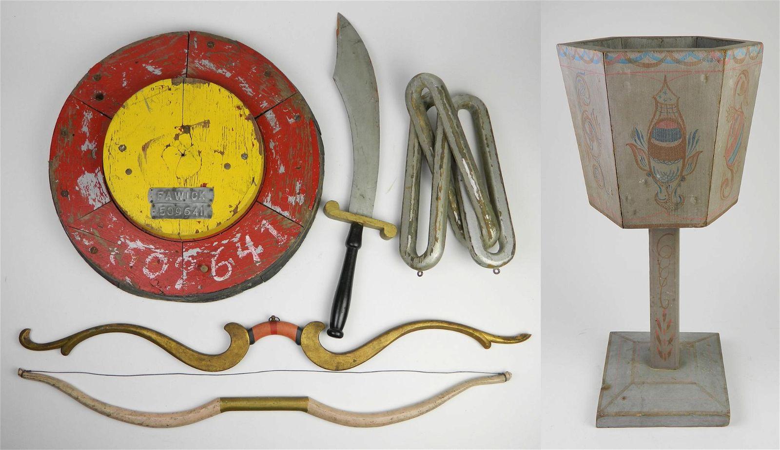6 Carved folk art items
