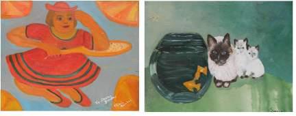 2 20th c Folk art oils