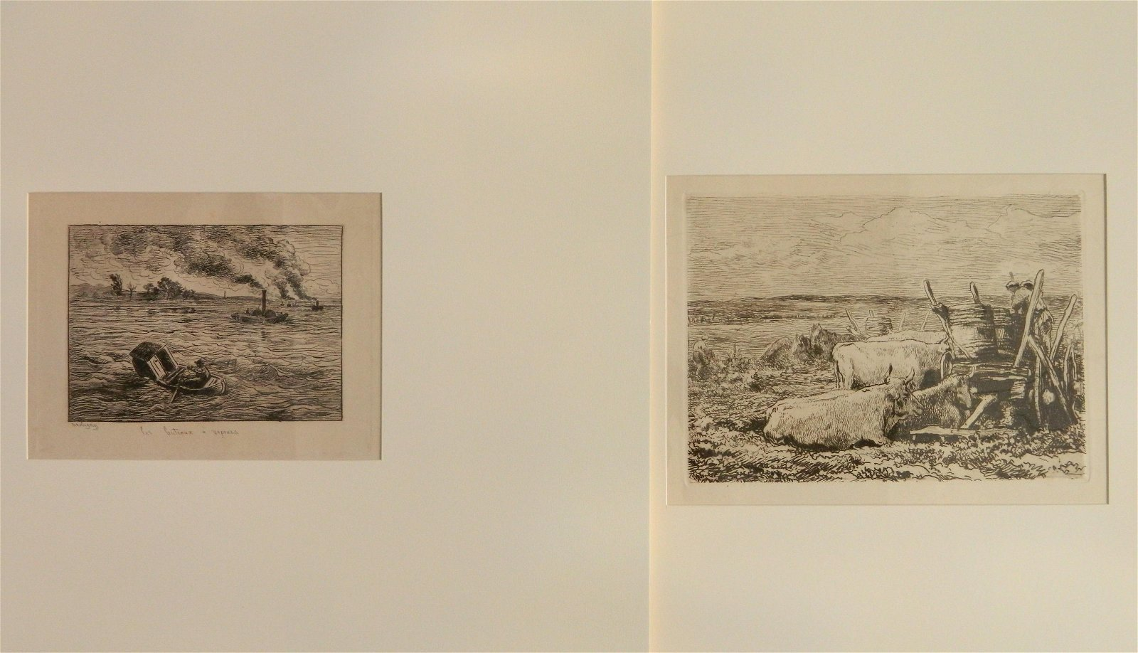 2 Charles Daubigny etchings