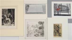 James Heath etching and 4 etchings