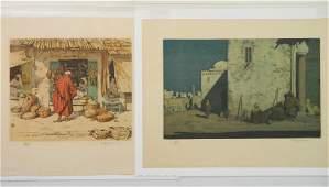 2 Tavik F. Simon etchings in color