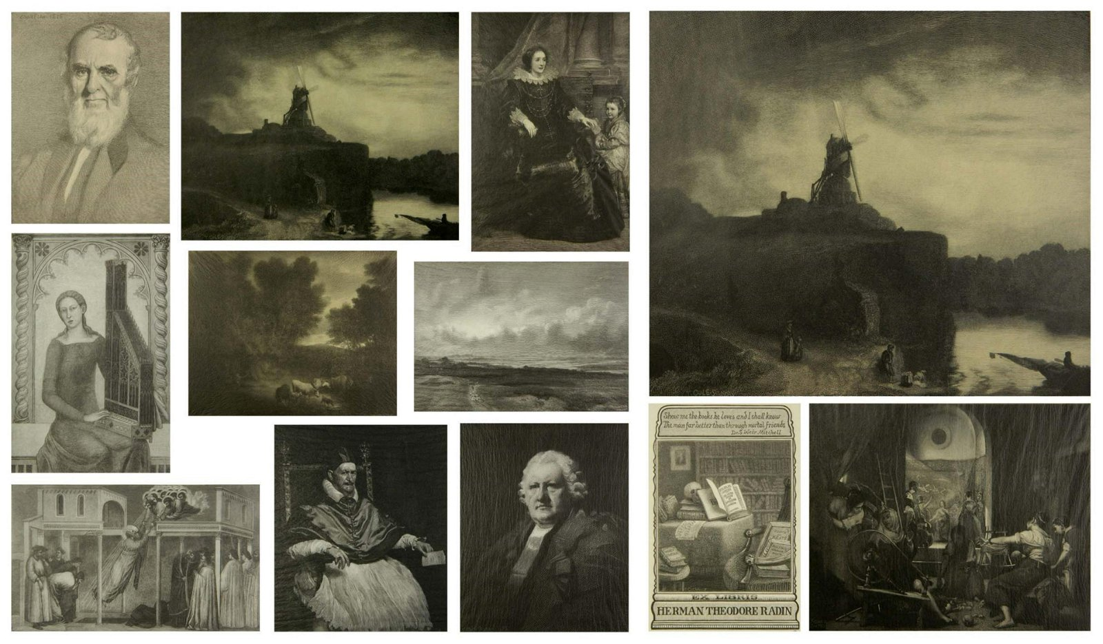 12 Timothy Cole wood engravings