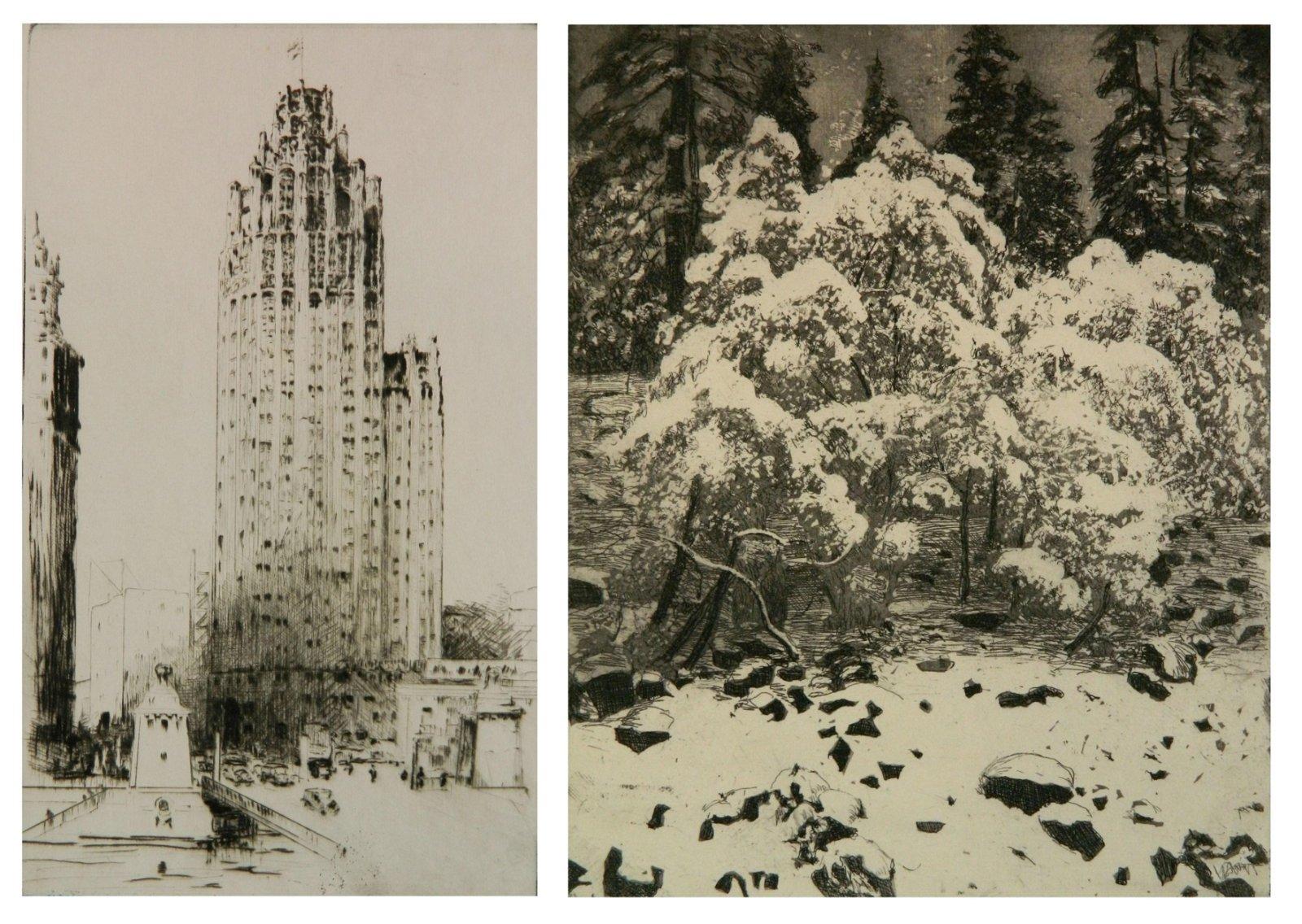 2 Charles Dahlgreen etchings