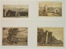 4 Luigi Lucioni etchings