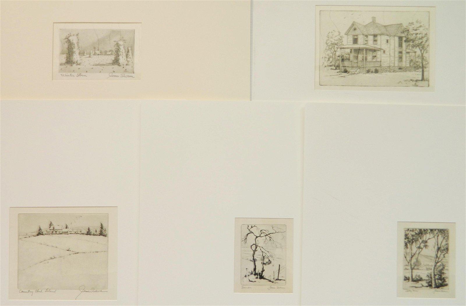 5 James Swann etchings