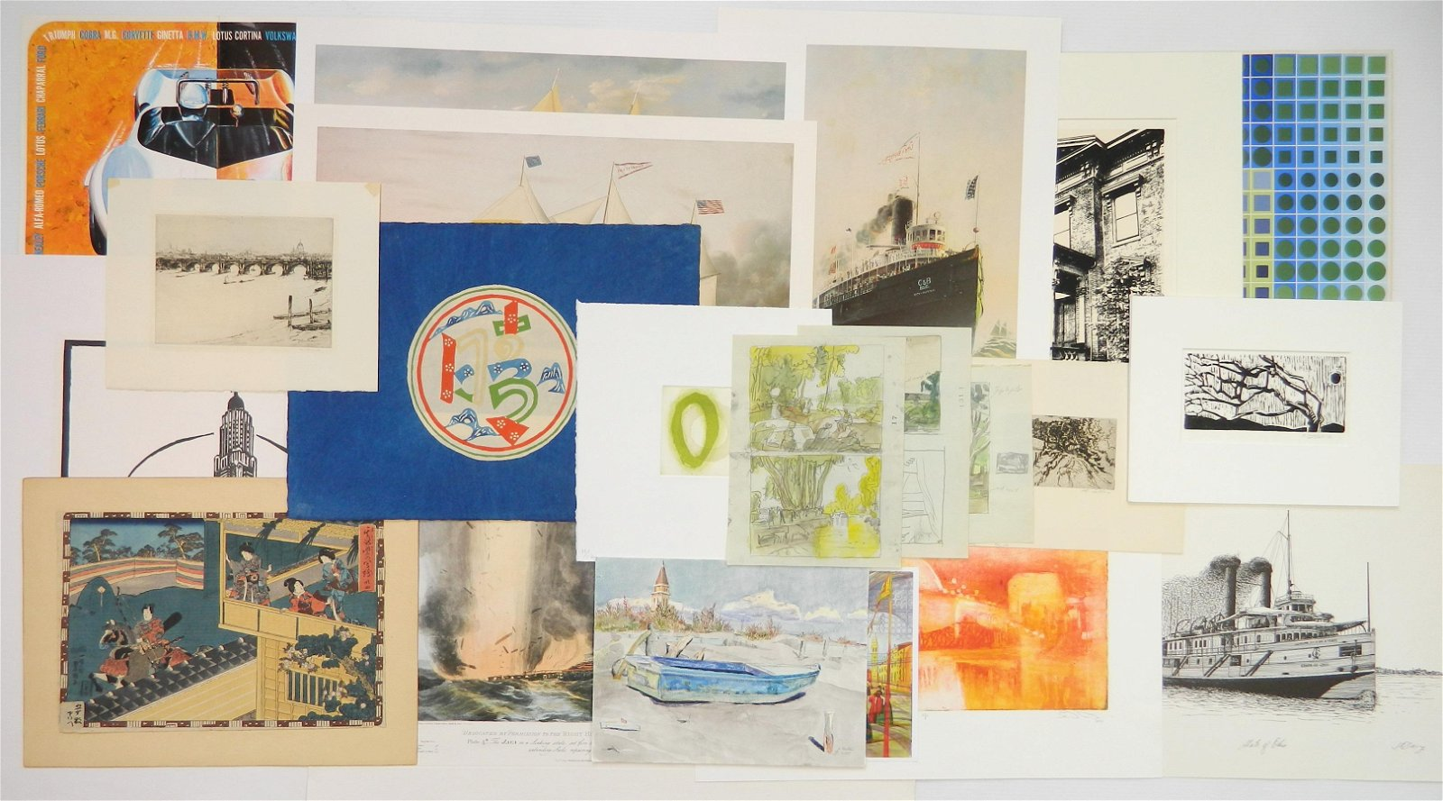 Large assortment of Contemporary works on paper
