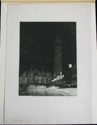 3: 20th c. European School- Town Square- etching and aq