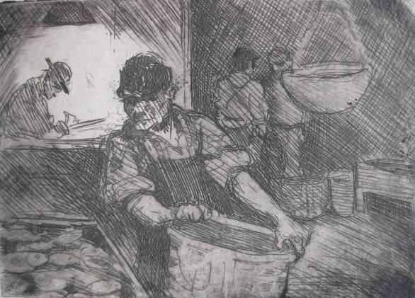 4: Samuel J. Woolf- The Fish Market- etching,  estate s