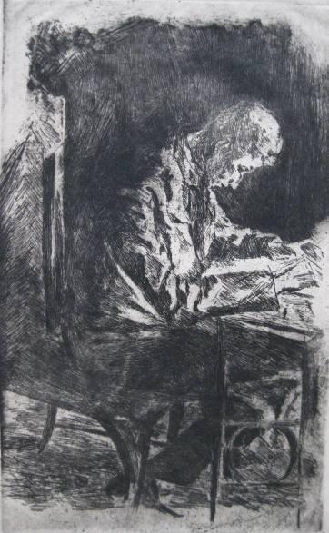 5: 20th c. American School- Man Studying- etching