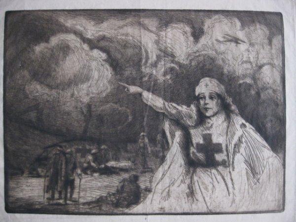 6: 20th c. American School- WWI Red Cross Nurse- etchin