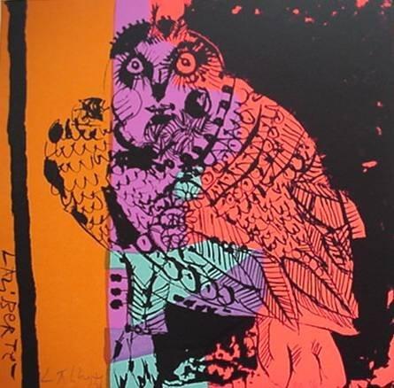 7: 20th c. American School- ''Owl''- lithograph in colo