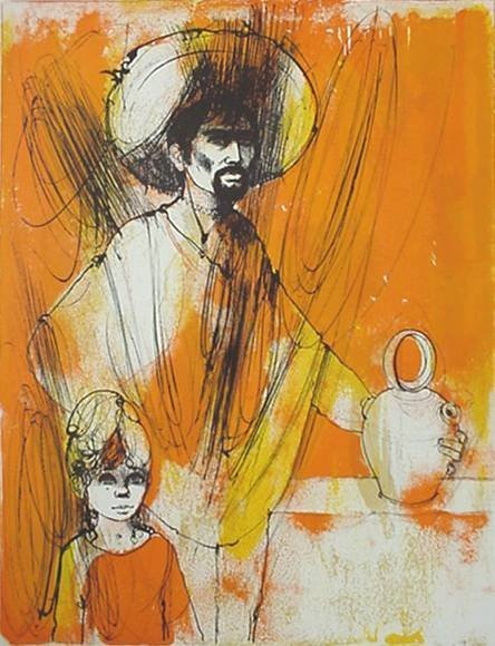 14: 20th c American School- Mexican Man and Child- lith