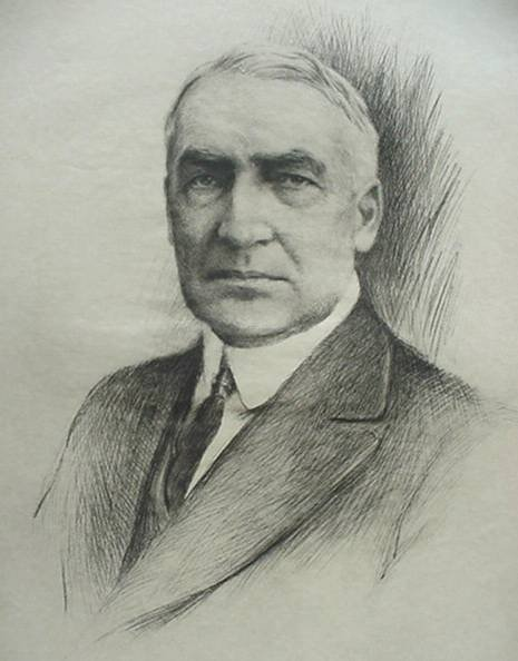 19: after K. Abelmann- Portrait of Warren Harding, lith