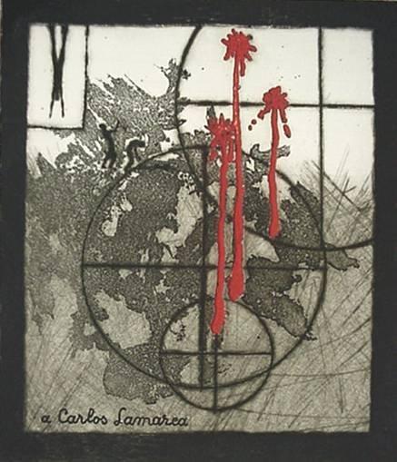 24: Y. Baliff- ''A Carlos Lamarca''- etching in colors
