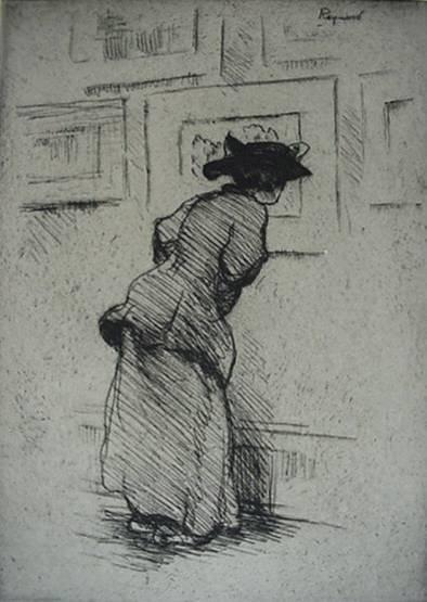252: Grant Reynard- ''In a London Gallery'', etching, s