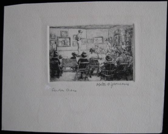 593: Walter C. Yeomans- ''Sketch Class''- etching, sign - 3