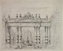 Circle of Ferdinando G. Bibiena pen and ink