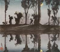 Helen Hyde woodcut in color