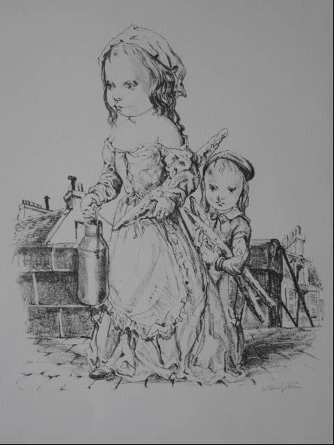 5: Leonard Foujita lithograph