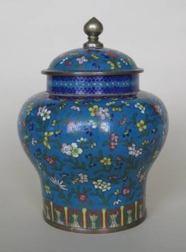17: Cloisonne covered urn