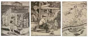 3 Peggy Bacon etchings