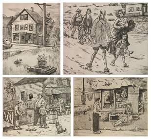 4 Peggy Bacon drypoints