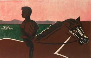 Francisco Amighetti woodcut in color