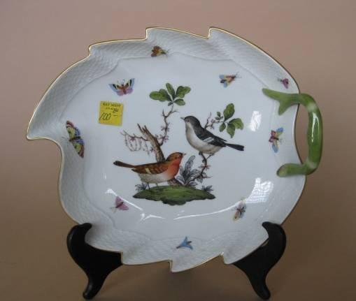 715: 2 Herend porcelain dishes