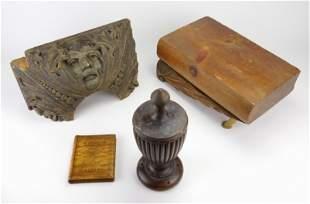 3 carved wood folk art items