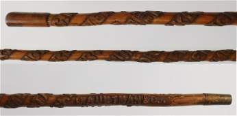 Carved folk art cane