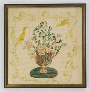 19th c. American painting on silk