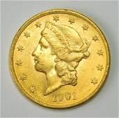 1901 $20 Liberty Head gold coin