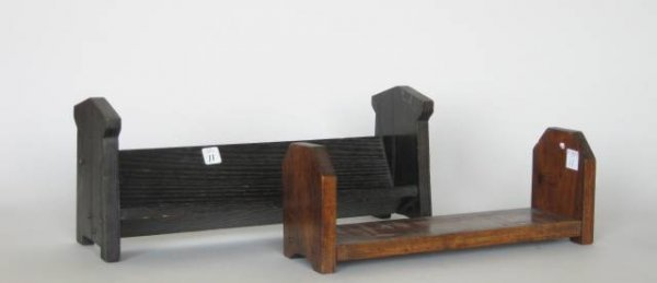 11: 2 Miniature oak book shelves