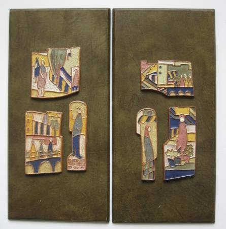 20: Pair of American ceramic tiles, style of H. Strong