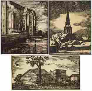 3 Julius J. Lankes wood engravings